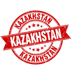 Kazakhstan red round grunge vintage ribbon stamp vector