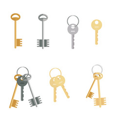 keys set isolated on white background flat vector image vector image