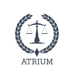 Legal company icon justice scales wreath vector