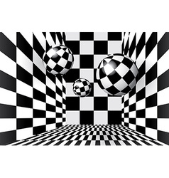 Magic balls in checkered room vector image