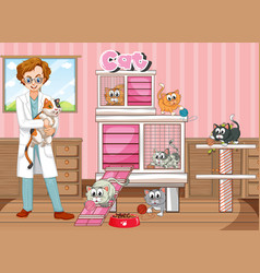 Male vet and happy cats in hospital vector