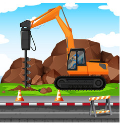 Man digging hole with drill at the construction vector
