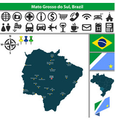 Map of mato grosso do sul brazil vector