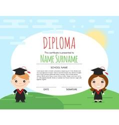 Preschool elementary kids diploma certificate vector