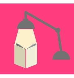 Reading with a lamp in pink background vector image vector image