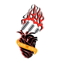 Rock and roll heart logo vector