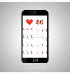 Smartphone with typical human electrocardiogram vector image