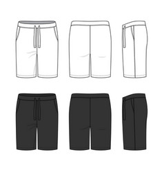 Sports shorts in white and black colors vector