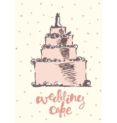 Vintage drawn wedding cake vector image vector image