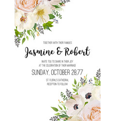 Wedding invitation invite card design pink peach vector