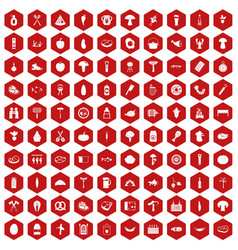 100 barbecue icons hexagon red vector image