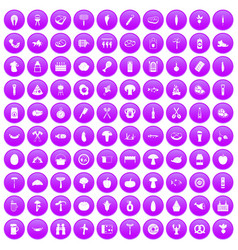 100 barbecue icons set purple vector image