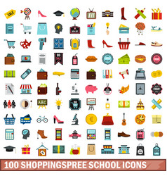 100 shoppingspree school icons set flat style vector