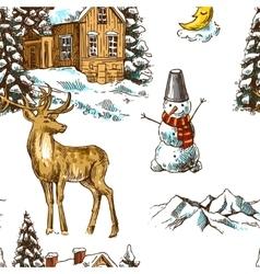pattern christmas landscape vector image