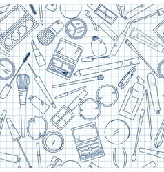Seamless pattern with tools for makeup on notebook vector image
