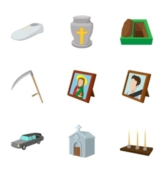 Death of person icons set cartoon style vector
