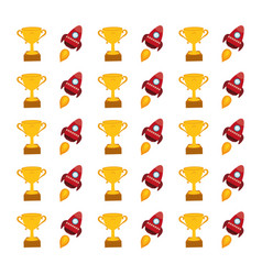 spaceship and trophy cup background vector image