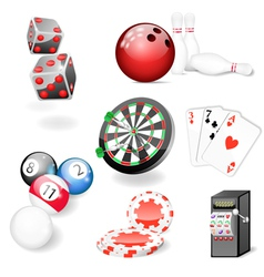 Set of casino and game elements vector