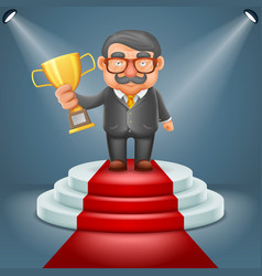 Businessman hold prize win award in hand light vector