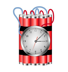 Time bomb connected to clock explodes vector