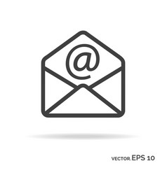 Mail outline icon black color vector
