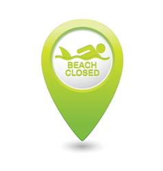 Shark sighting icon green map pointer vector