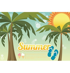 Summer holiday card with palm trees and flip flops vector