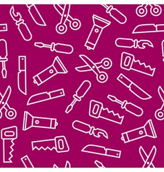 White flat swiss knife tools on purple back vector