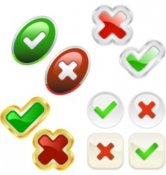 Approved and rejected icons vector