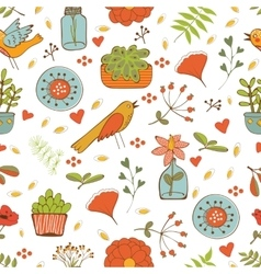 Printseamless pattern with plants birds leaves and vector