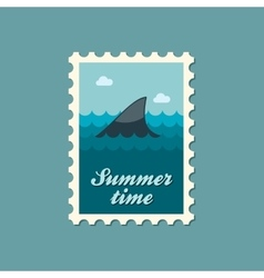 Shark fin flat stamp summertime vector