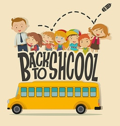 Back to school theme with teacher and pupils vector