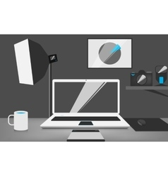 Stylish workplace of a photographer vector