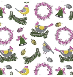 birds wreath print vector image