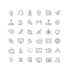 Technologies and science line icons vector