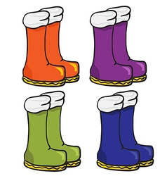 Four pair of boots vector
