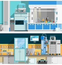 Two science laboratory horizontal banners vector