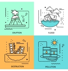 Disaster damage colored icon set vector