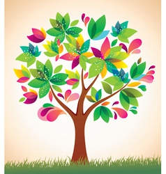 beautiful colorful tree vector image vector image
