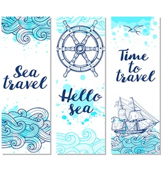 Blue vertical marine banners vector