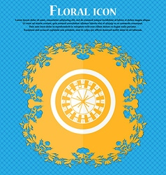 Casino roulette wheel icon floral flat design on a vector