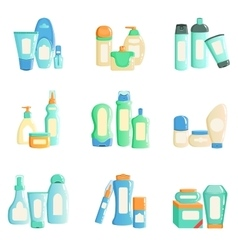 Cosmetc products bottles sets collection of vector