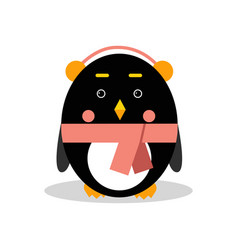 Cute cartoon penguin character wearing headphones vector