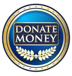 Donate money blue label vector