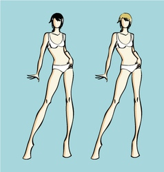 Fashion design female models template vector image