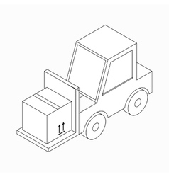 Forklift truck carrying box icon isometric 3d vector