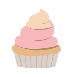 Hand drawing color cupcake with pink and vainilla vector