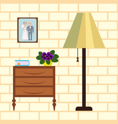 Home interior with flower vector
