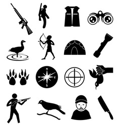 Hunting icons set vector