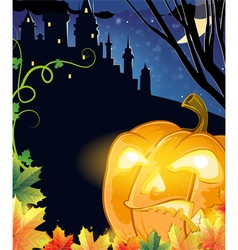 Jack O Lantern with glowing eyes vector image